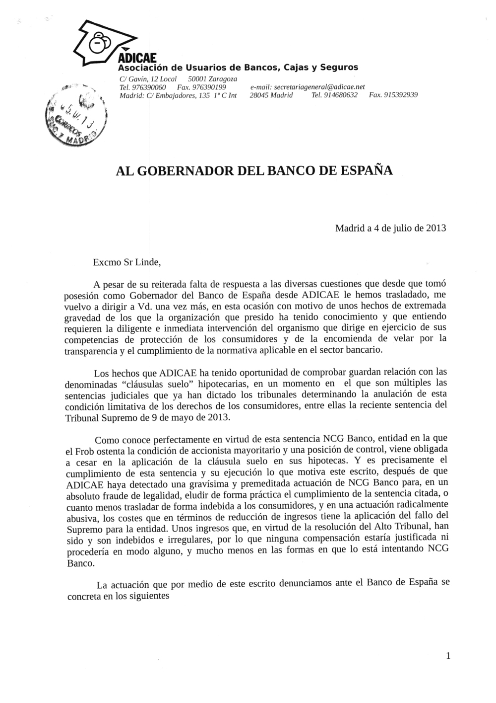 Adicae impositores usuarios for Modelo demanda clausula suelo